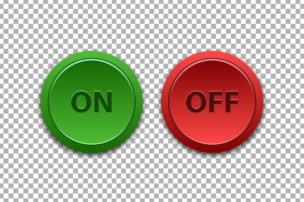 テンプレート装飾のための現実的な分離されたオンとオフのプッシュボタンのベクトルセット Premiumベクター