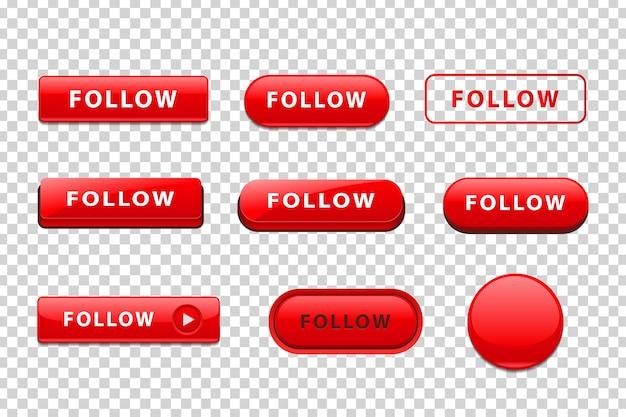 웹 사이트 장식에 따라 로고의 현실적인 격리 된 빨간 버튼의 벡터 집합 프리미엄 벡터