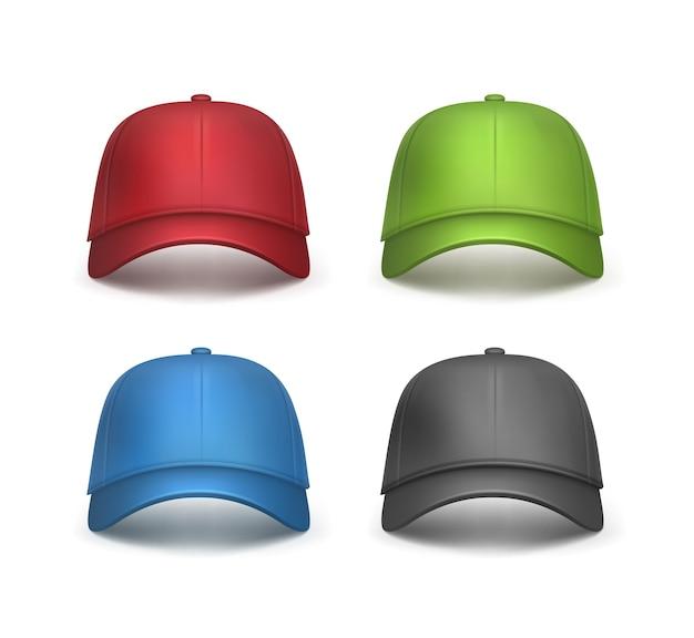 현실적인 빨강, 검정, 녹색, 파란색 야구 모자 전면보기 흰색 배경에 고립의 벡터 집합 무료 벡터