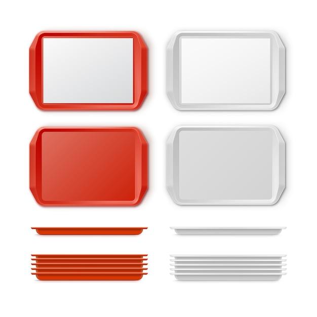 배경에 고립 된 핸들 평면도와 직사각형 빨간색 흰색 플라스틱 트레이 salver의 벡터 세트 무료 벡터