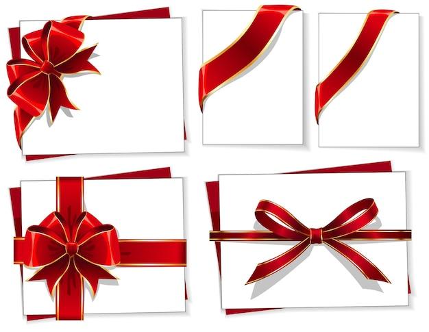 빨간 선물 리본 리본 벡터 세트 프리미엄 벡터