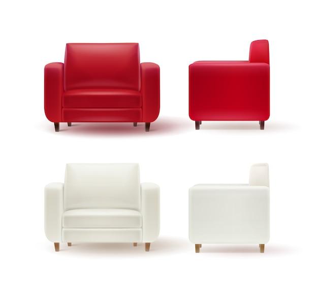 Векторный набор красных, белых кресел сбоку и спереди, изолированные на белом фоне Бесплатные векторы