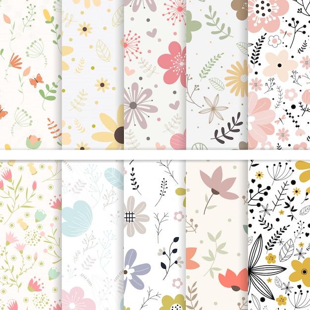 완벽 한 패턴 꽃의 벡터 집합입니다. 프리미엄 벡터