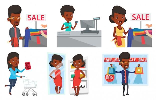 ショッピングの人々のキャラクターのベクトルを設定します。 Premiumベクター