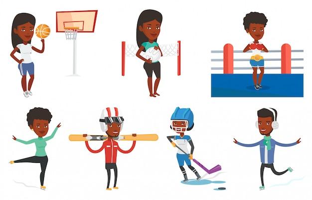 Векторный набор спортивных персонажей. Premium векторы
