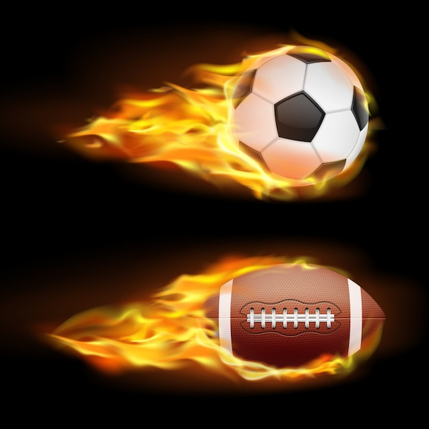 Vector set of sports burning balls, balls for\ soccer and American football on fire in a realistic style