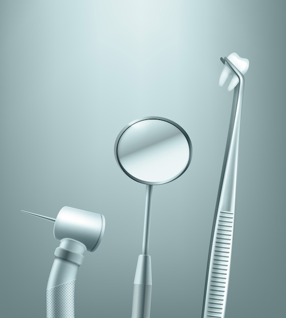 背景に歯の側面図とステンレス歯科ツールミラー、ドリル、鉗子のベクトルセット 無料ベクター