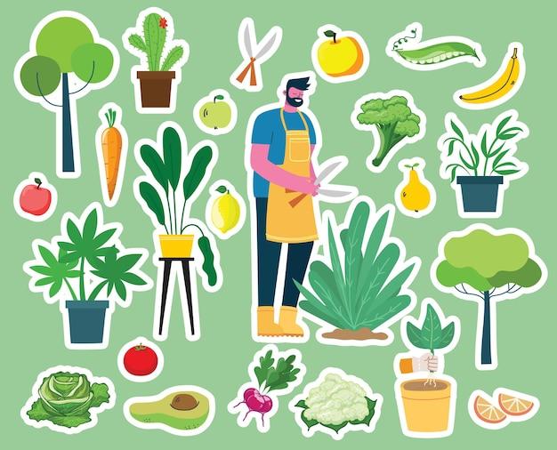 Векторный набор деревенских людей, занимающихся садоводством с экологически чистыми продуктами питания, цветами и растениями в плоском дизайне Premium векторы