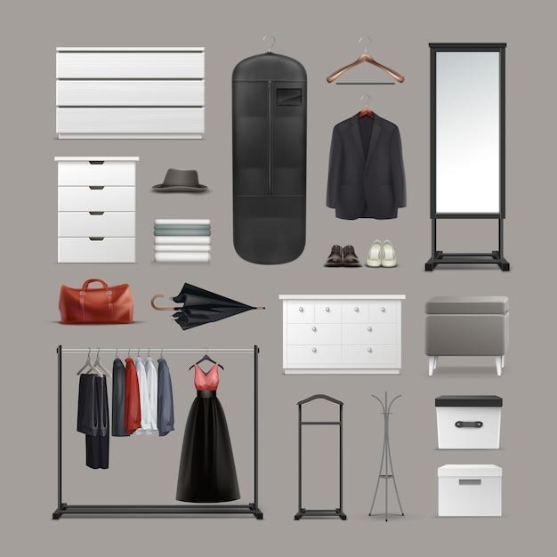 옷장 물건 옷걸이, 상자, 거울, pouf, 랙 및 스탠드, 다른 옷, 가방, 신발 및 우산 전면보기 배경에 고립의 벡터 세트 무료 벡터