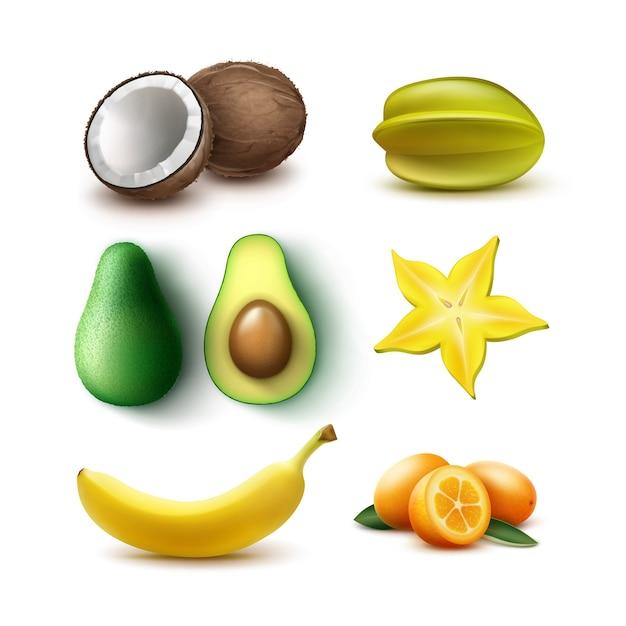Векторный набор целых и половинных тропических фруктов авокадо, банана, кокоса, карамболы, карамболы, кумквата, изолированные на белом фоне Бесплатные векторы