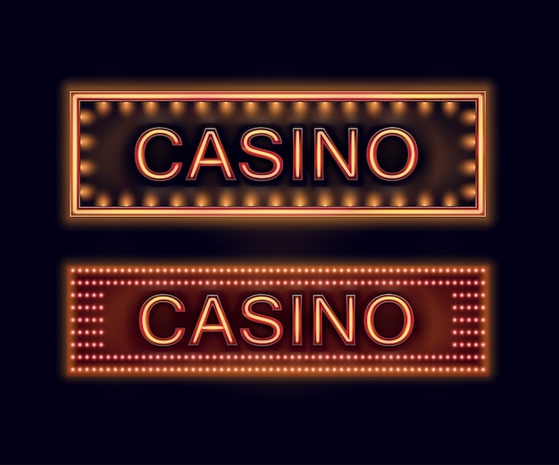 Vector set of orange illuminated casino signboards for poster, flyer, billboard, web sites and gambling club isolated on black background Free Vector