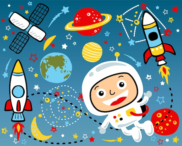 Vector set of outer space cartoon illustration Premium Vector