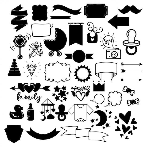 Vector set of outline sticker icons - twin babies announcement Premium Vector