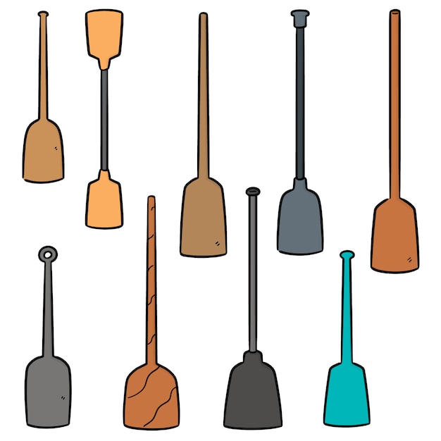 Vector set of paddle Premium Vector