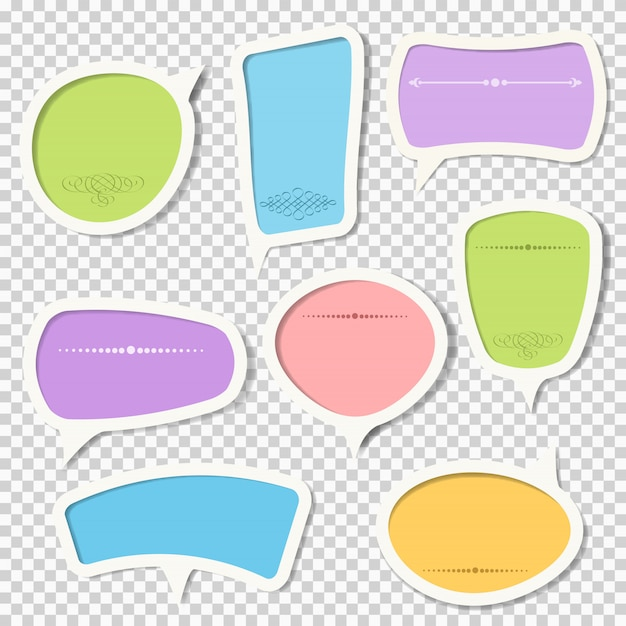 Vector set of paper speech bubbles with calligraphic elements Premium Vector