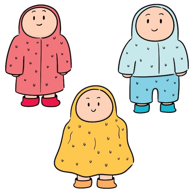 Vector set of people in raincoat Premium Vector