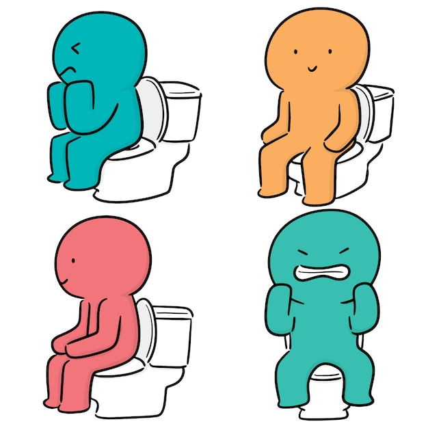 Vector set of people use flush toilet Premium Vector