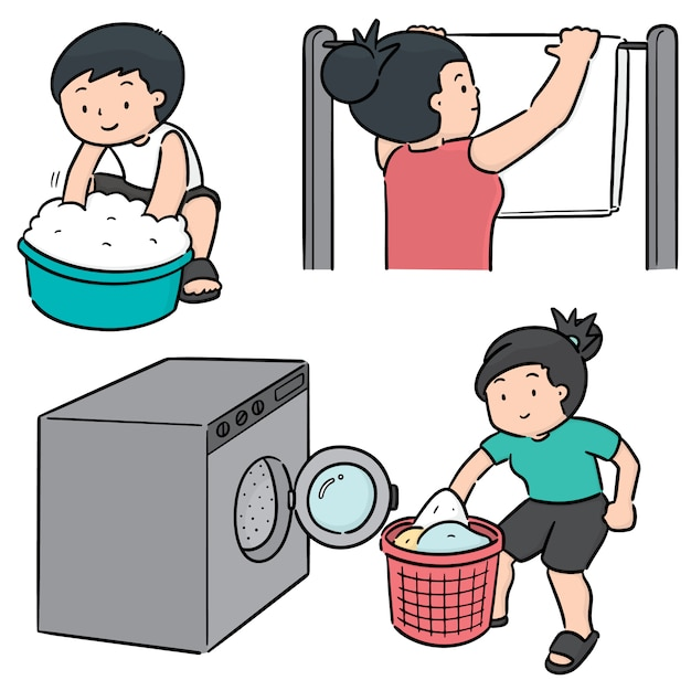 Vector set of people washing clothes Premium Vector