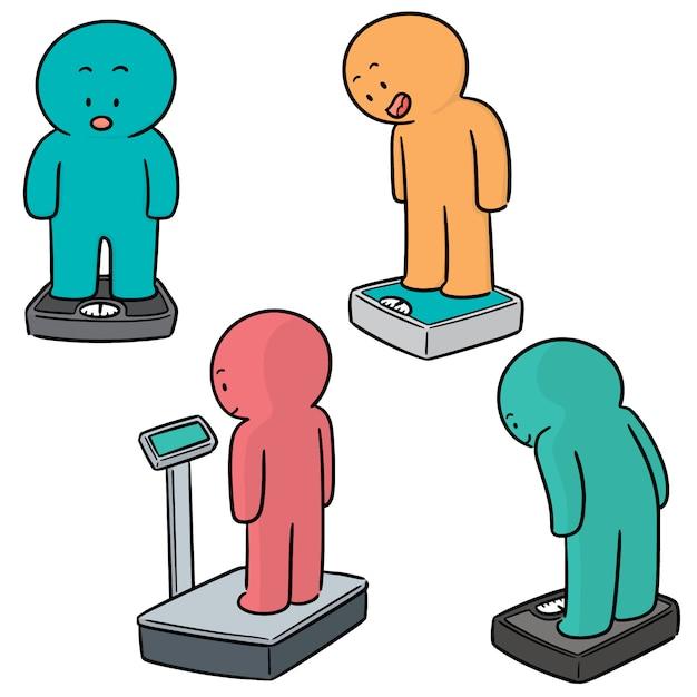 Vector set of people on weighing machine Premium Vector