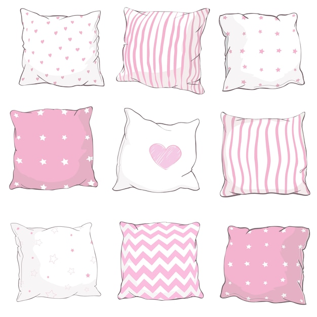 Vector set pillows. Premium Vector