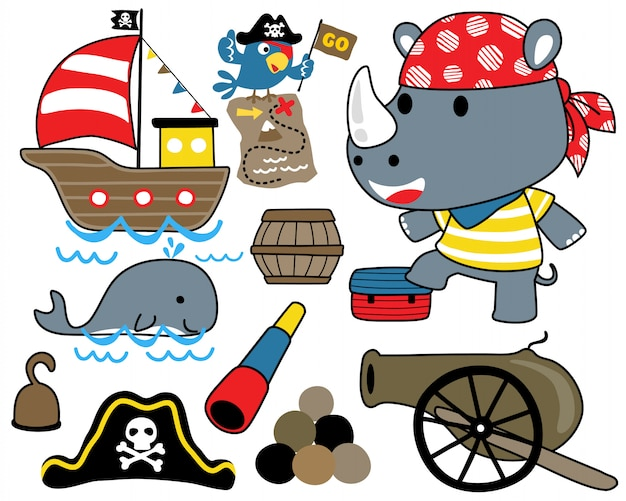 Vector set of pirate with sailing equipment Premium Vector