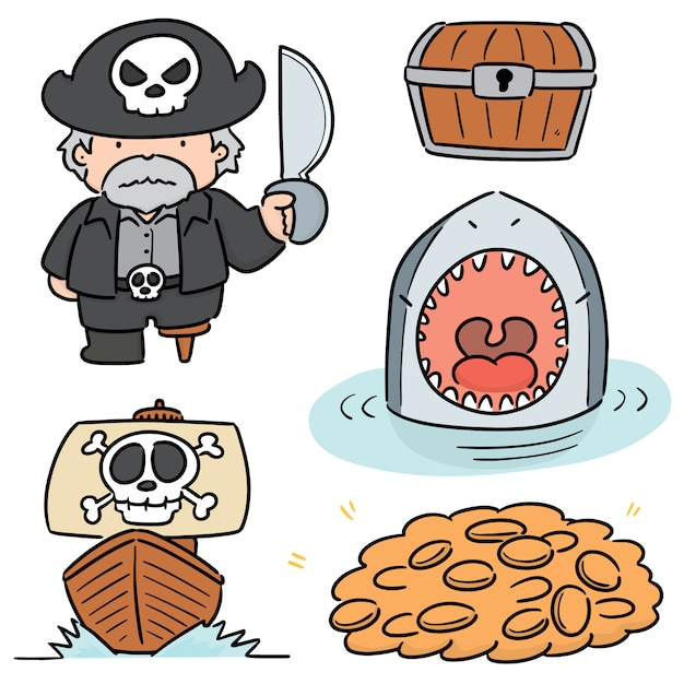 Vector set of pirate Premium Vector