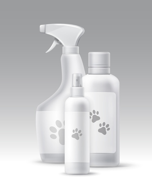 Vector set of plastic bottles for pets hygiene and groomong isolated on background Free Vector