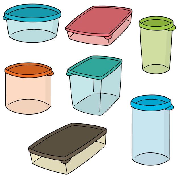 Vector set of plastic container Premium Vector
