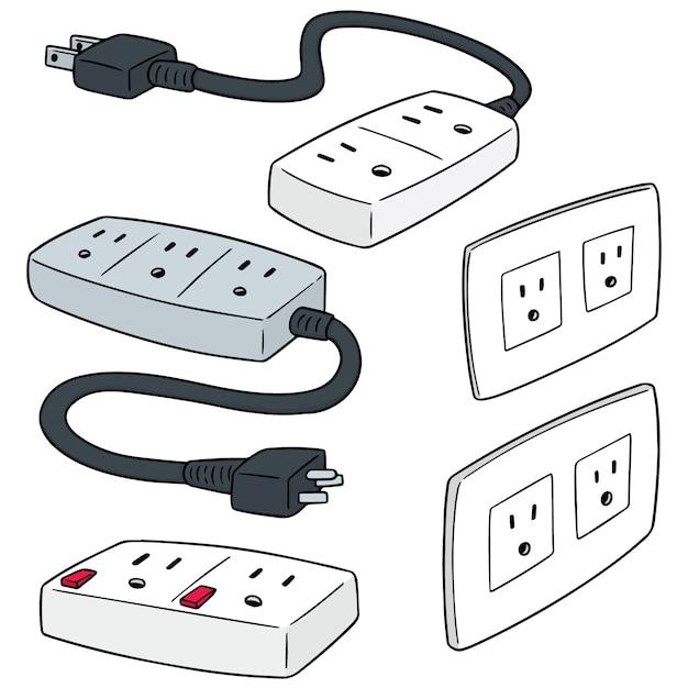 Vector set of plugs Premium Vector