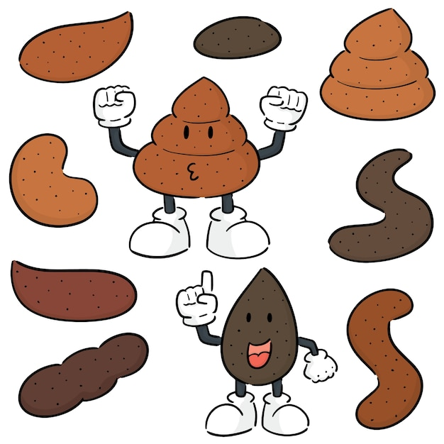 Vector set of poop Premium Vector