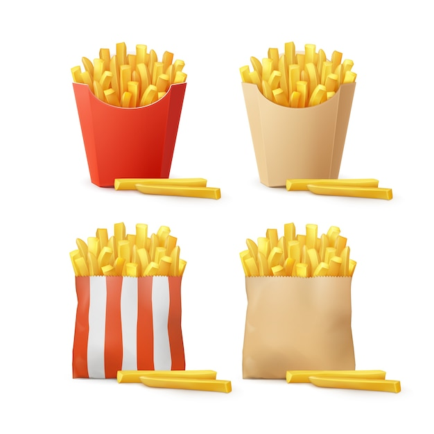 Vector set of potatoes french fries in red white striped craft paper carton package boxes bags isolated on background. fast food Free Vector