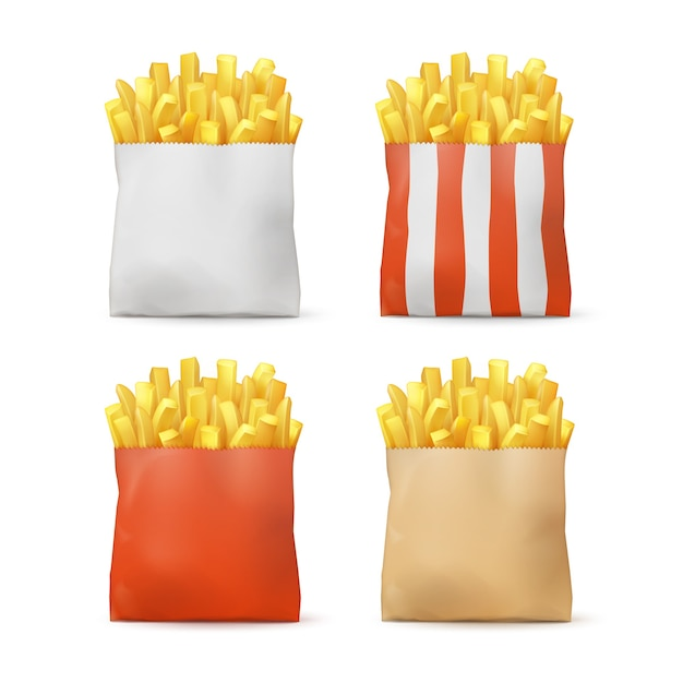 Vector set of potatoes french fries in red white striped craft paper package bags isolated on background. fast food Free Vector