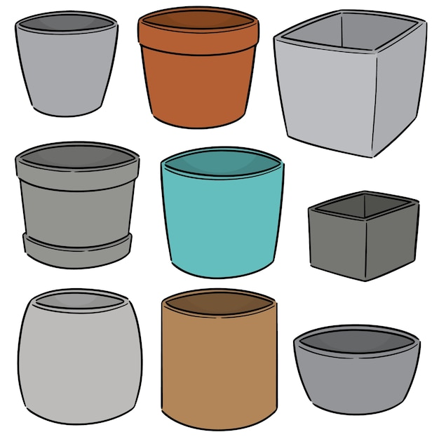 Vector set of pots Premium Vector