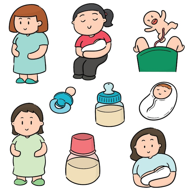 Vector set of pregnant woman and baby Premium Vector