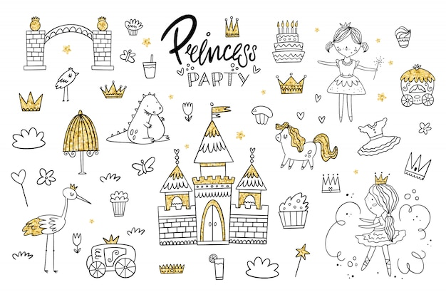 Vector set of princess kingdom. the object with a gold texture Premium Vector