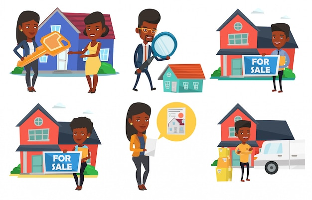 Vector set of real estate agents and house owners. Premium Vector