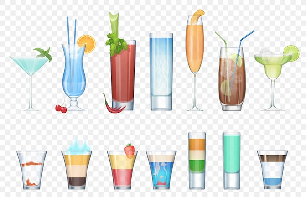 Vector set of realistic alcoholic cocktails isolated on the alpha transperant background. club party summer cocktails in mixed glasses. short and long cocktails collection. Premium Vector