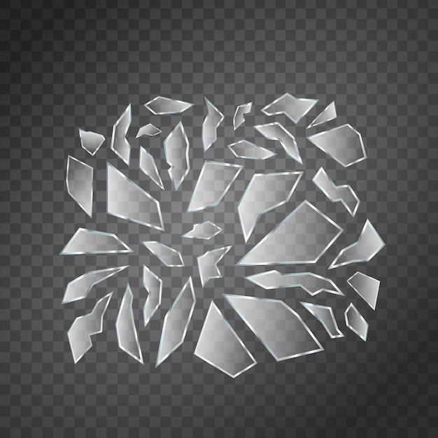 Vector set of realistic isolated broken glass shards for decoration and covering on the transparent space. Premium Vector