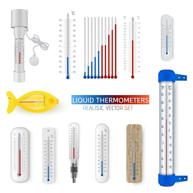 Vector set of realistic various household and meteorological liquid thermometers Premium Vector
