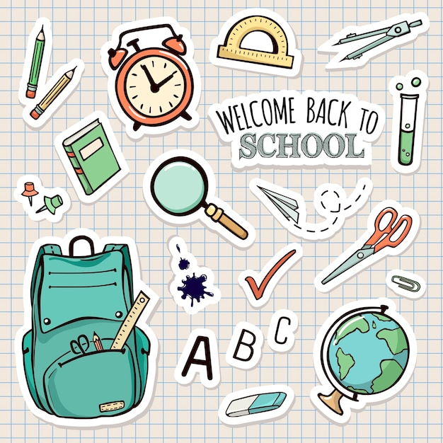 Vector set of school stickers Premium Vector