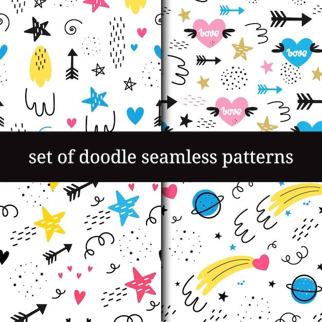 Vector set of seamless patterns. Premium Vector