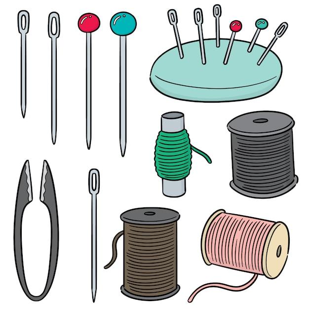 Vector set of sewing accessories Premium Vector