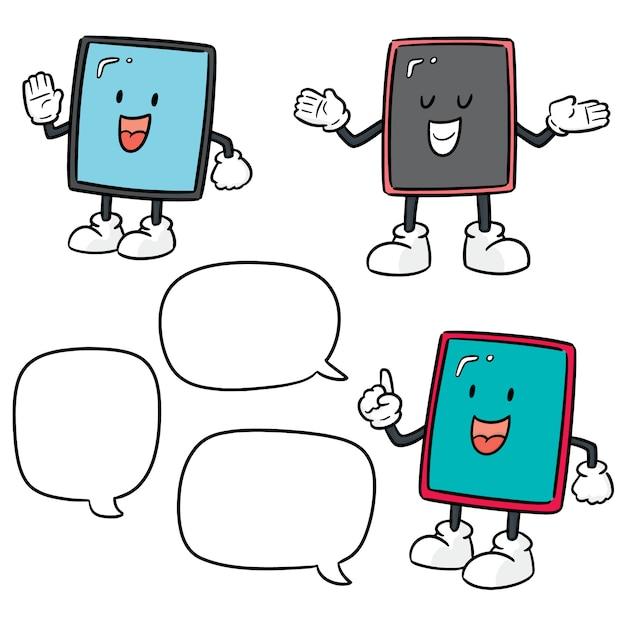 Vector set of smartphone cartoon Premium Vector
