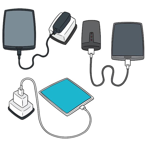 Vector set of smartphone charging Premium Vector