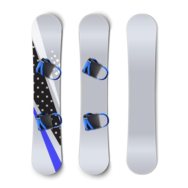 Insieme di vettore di snowboard: vuoto, con modelli e attacchi vista posteriore anteriore isolato su priorità bassa bianca Vettore gratuito