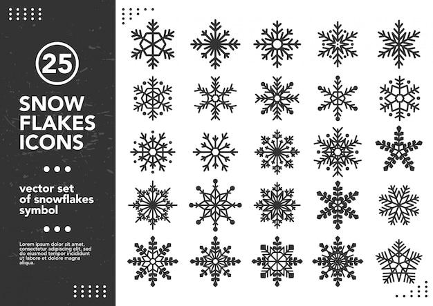 Vector set of snowflakes shapes. Premium Vector