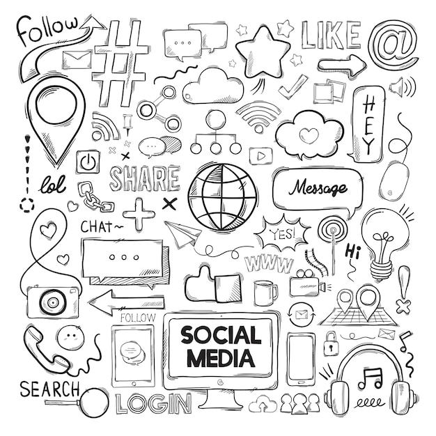 Vector set of social media icons Free Vector