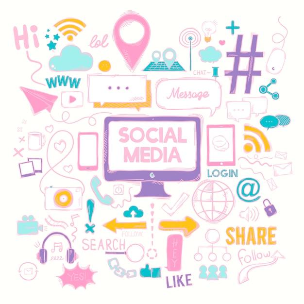Vector set of social media icons Free Vector