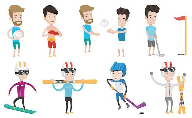 Vector set of sport characters. Premium Vector