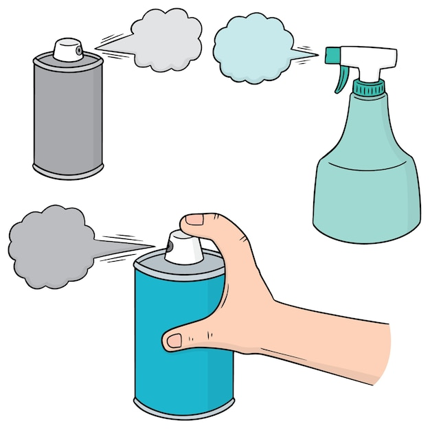 Vector set of spray can and bottle Premium Vector